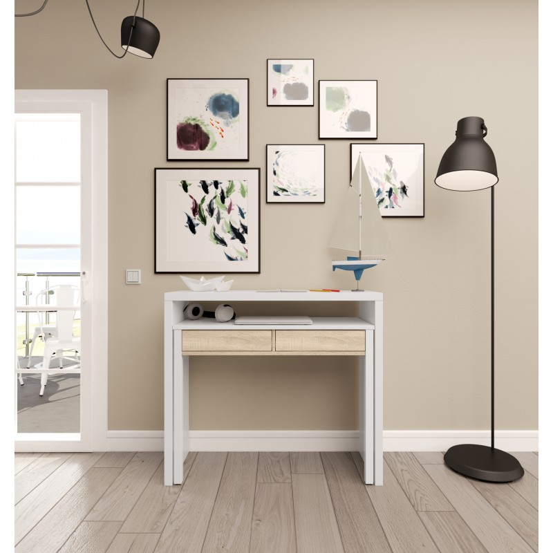 Scrollable desk with 2 drawers