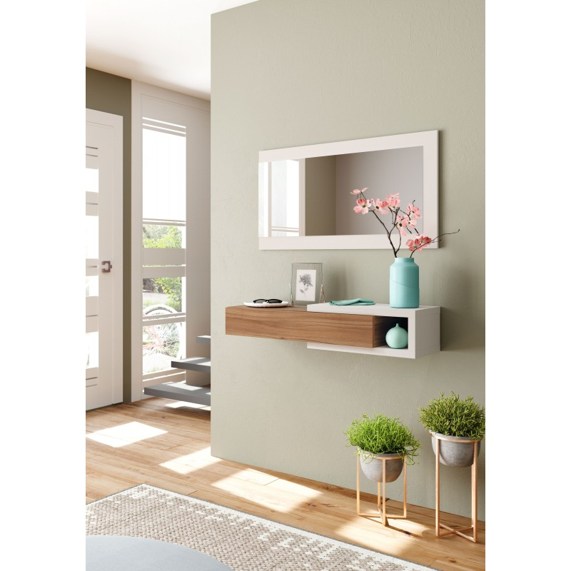 Hallway with drawer and mirror